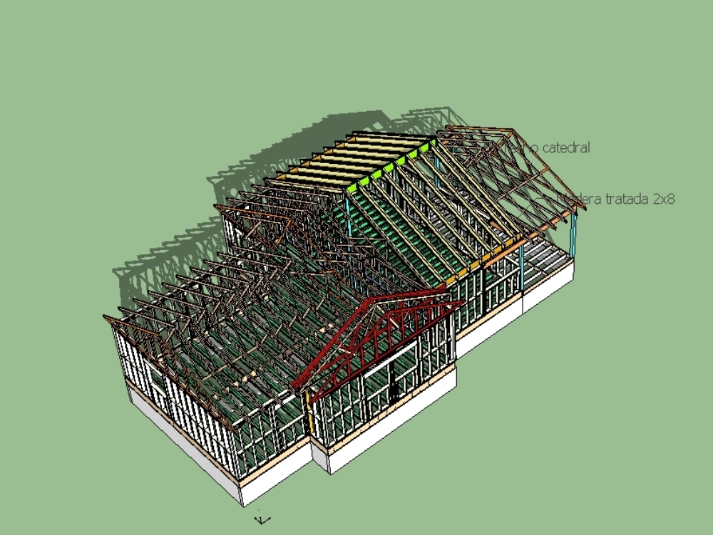 3d wooden structure of american house