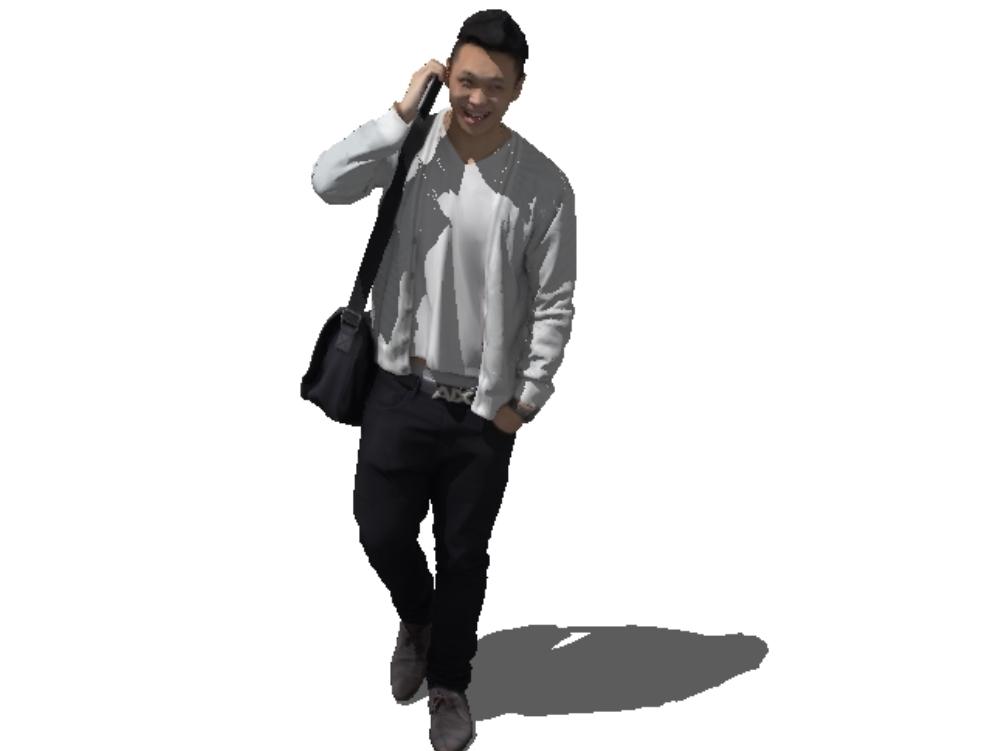 Hombre hablando por teléfono 3d