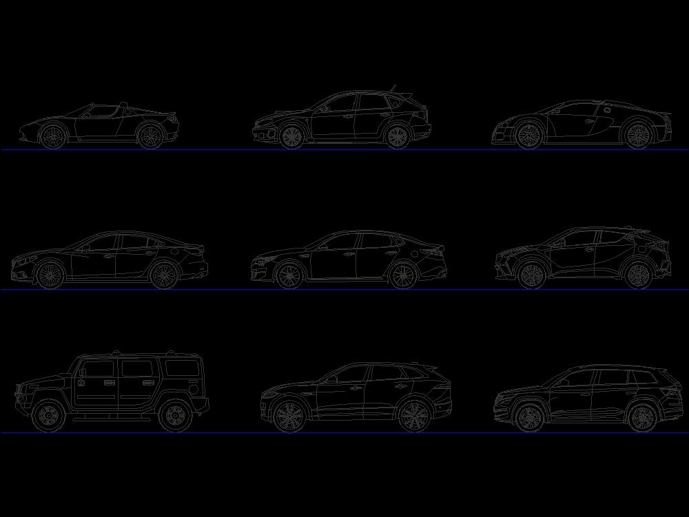Vistas de vehículos varios 6 modelos diferentes