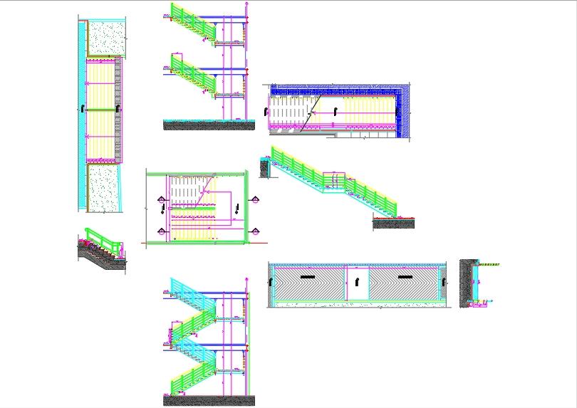 Detalle escaleras metálicas para proyecto