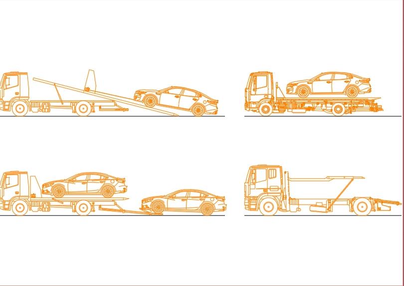Camion grua para vehiculos en diferentes vistas