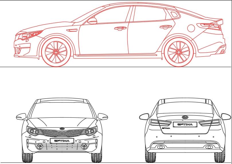 Kia optima 2017 model in autocad three elevations