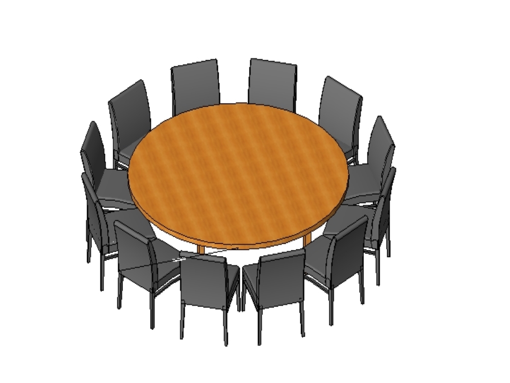 Mesa redonda con sillas revit