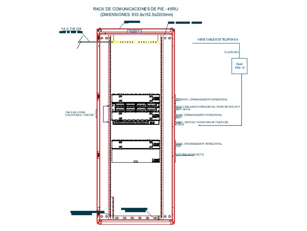 Standing Communications Rack - 45ru
