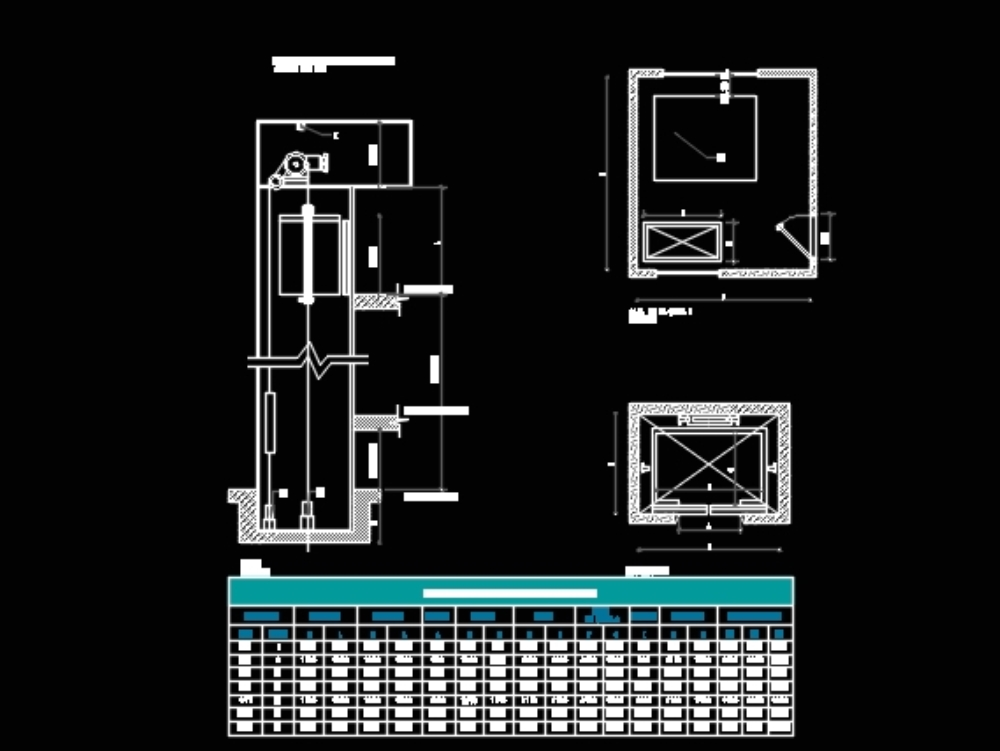 Details of hydraulic elevators for autocad plans