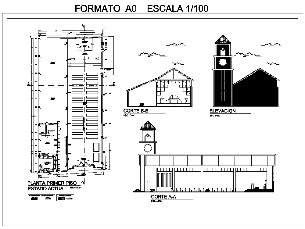 Plan of the church on December 3, as a whole; cuts and facades of a parish.