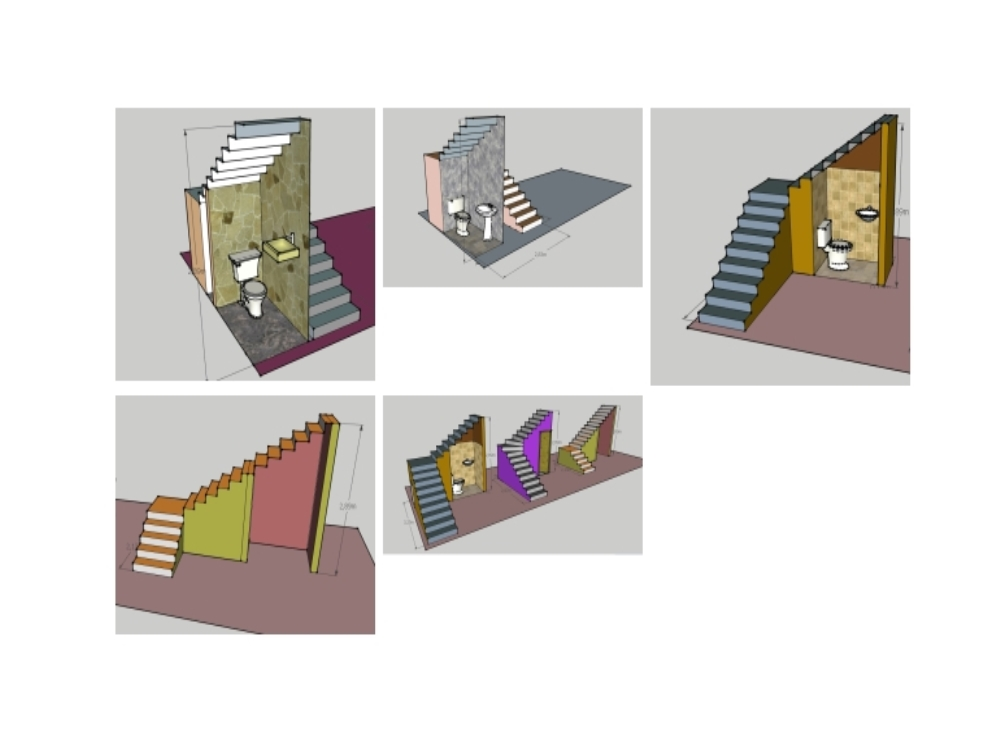Stairs of two; three sections and at an angle