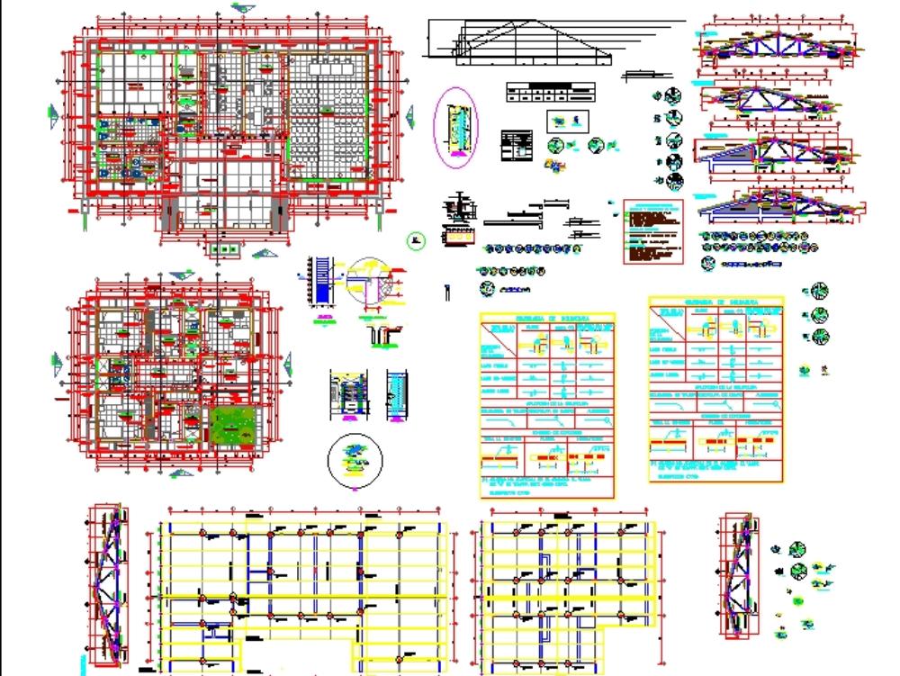 Estructuras techo metálico con tijerales - soporte de canaleta