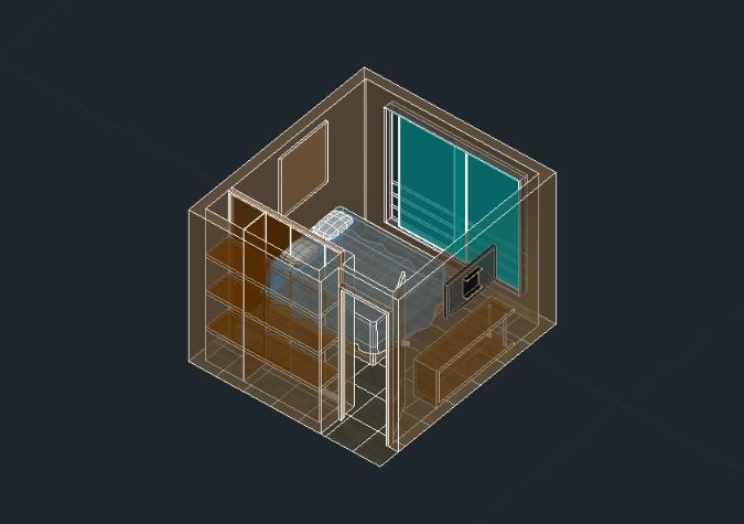 Habitacion 3d con detalles de materiales