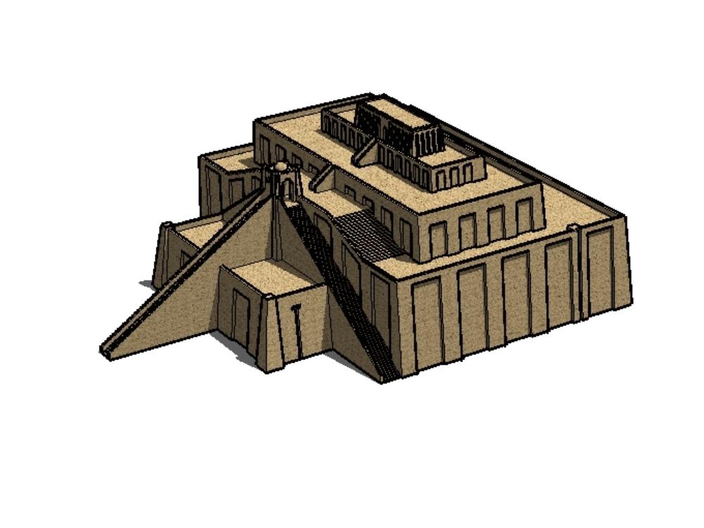 3d drawings ziggurat 3d sketch design; 3d sketch ziggurat in iran