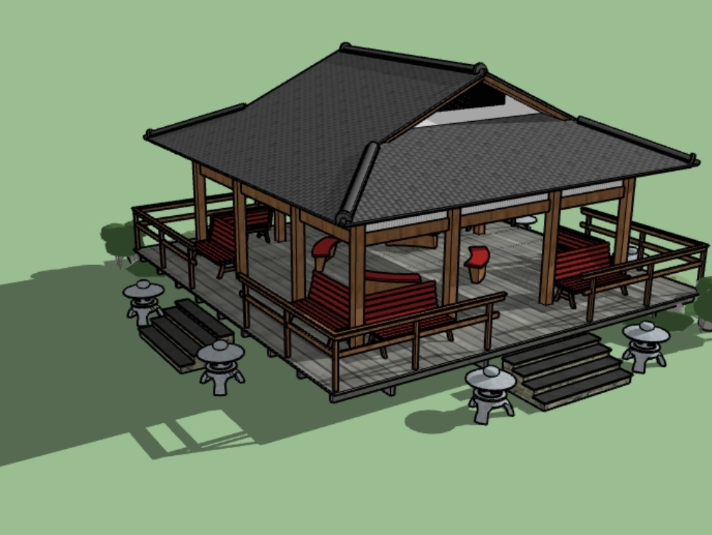 Park gazebo with furniture