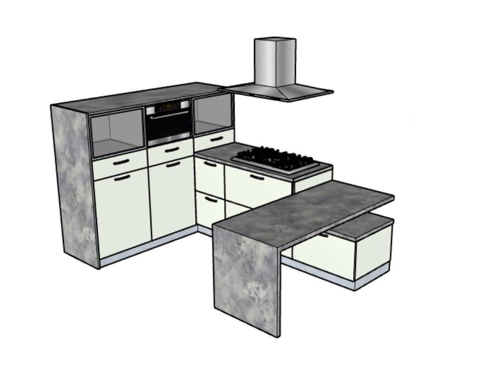 Model of white melamine kitchen cabinet