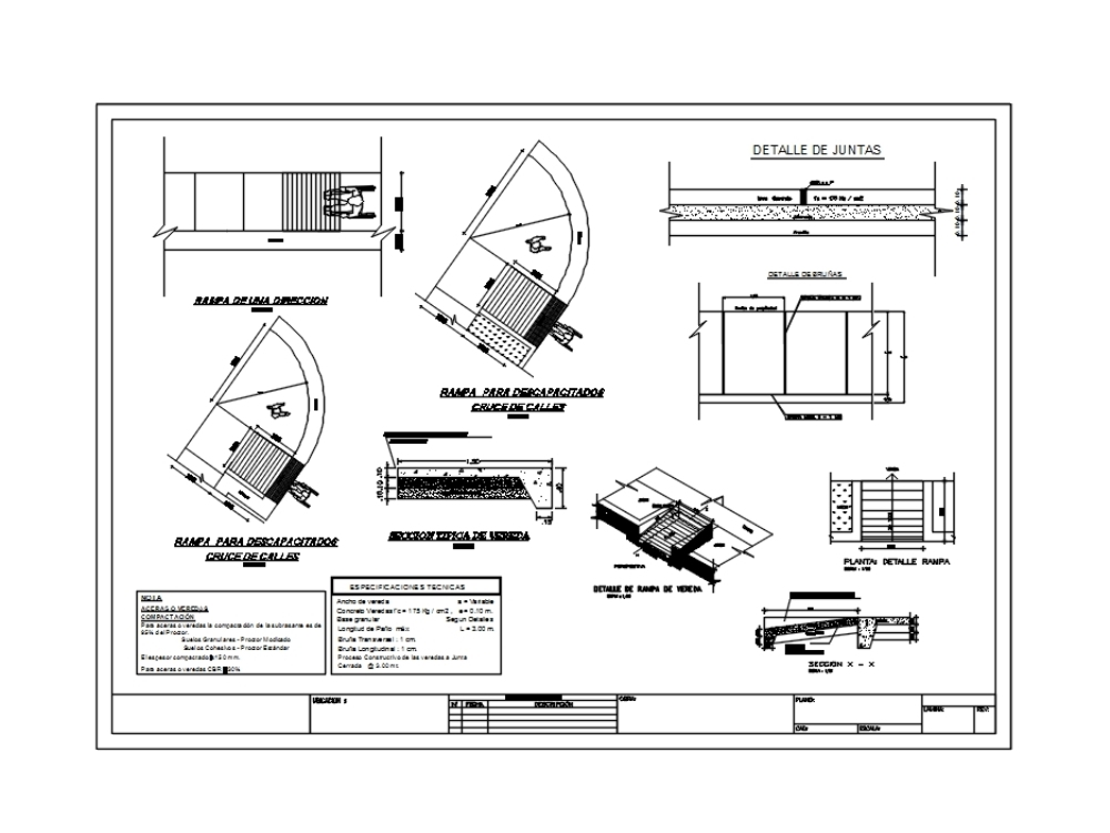 Detail plan of sidewalks and ramps
