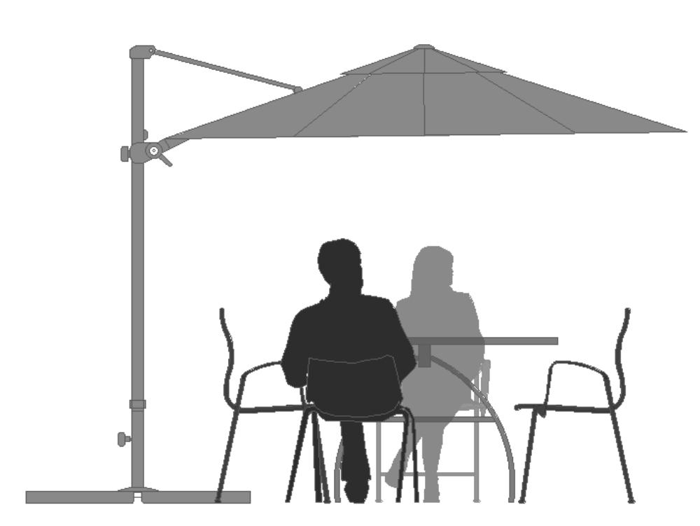 Personas sentadas con parasol en alzado