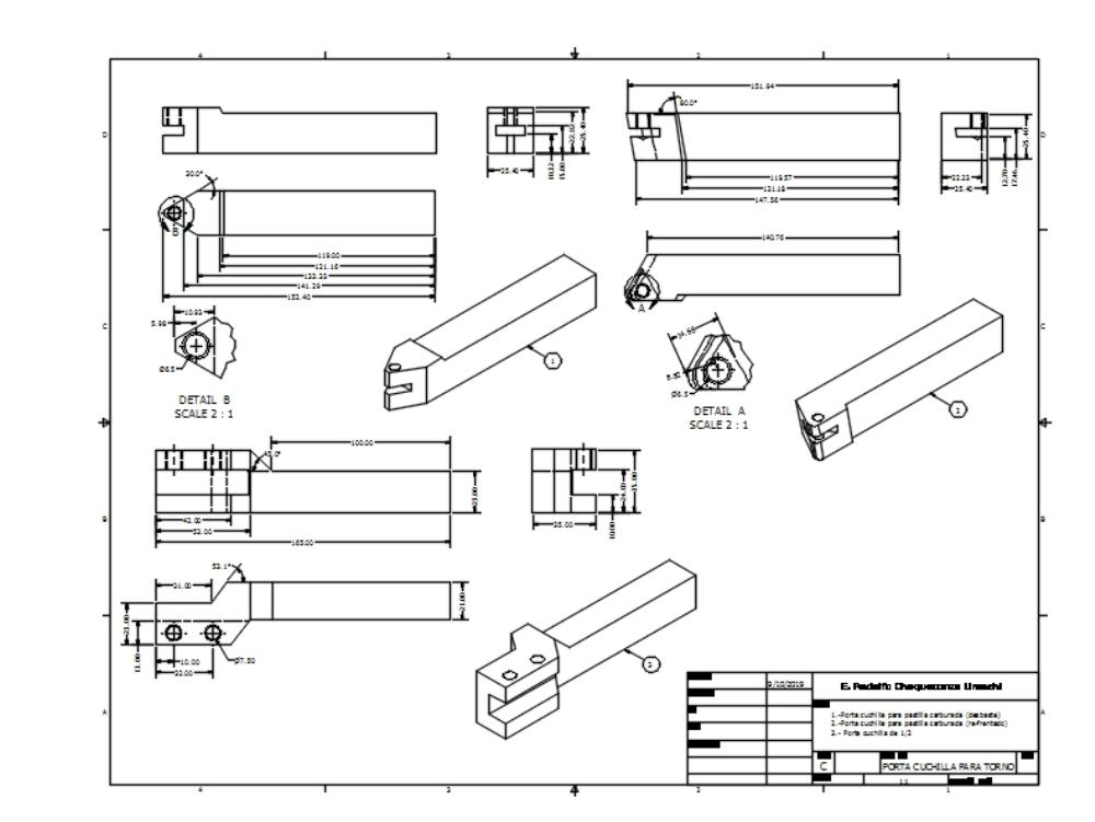 Diseño de porta cuchillas para torno