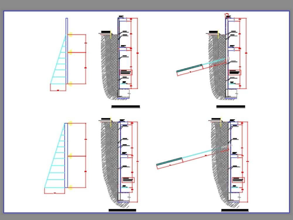 Paredes do porão de um edifício de 7 andares