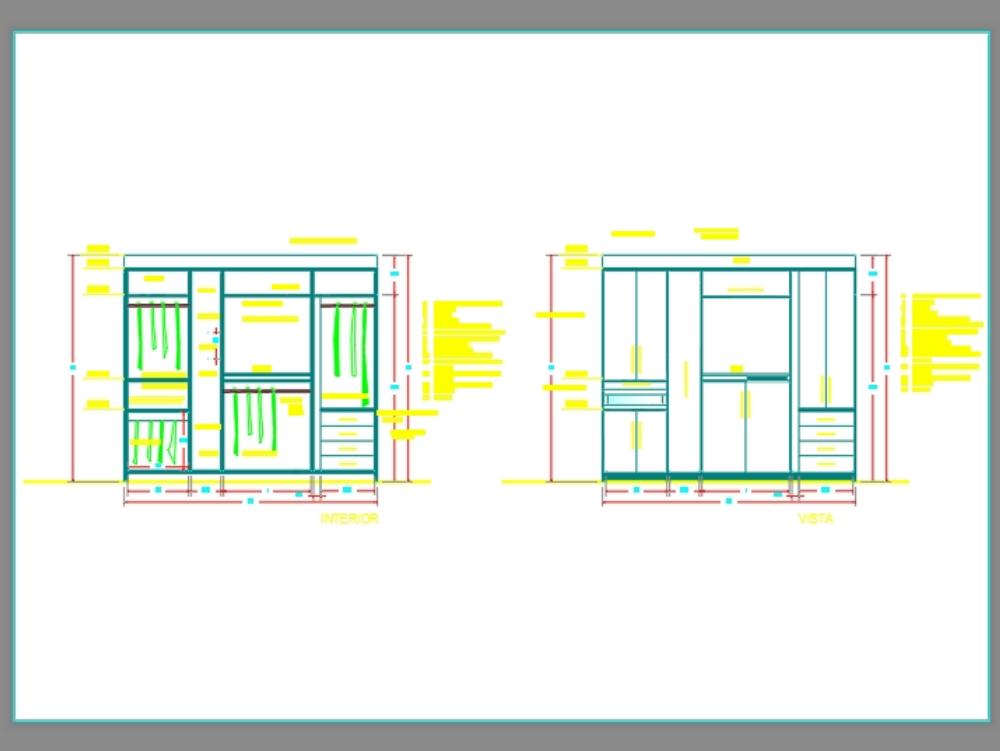 Closet de madera en autocad 2d versión 2013