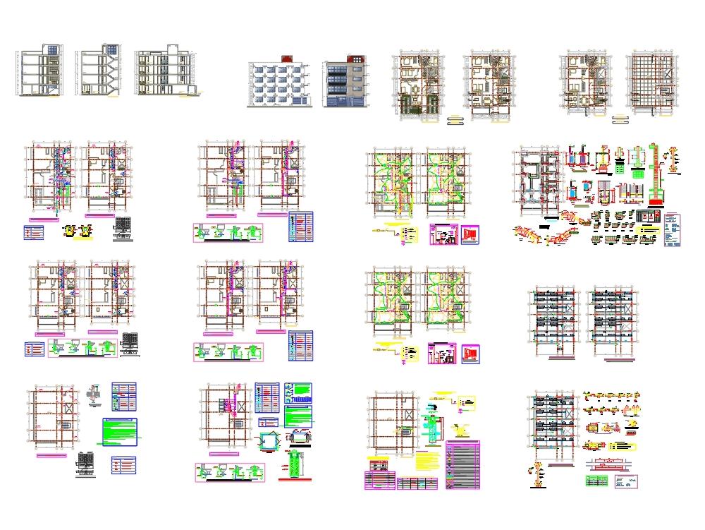 Planos de vivienda multifamiliar de 4 pisos en esquina