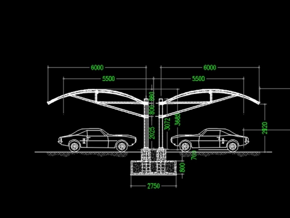 Arch type parking shades-side elevation detail
