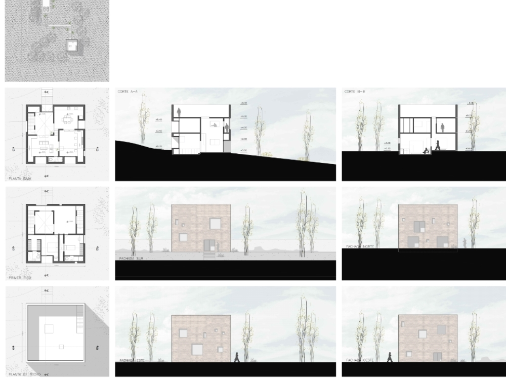 Stereotomic concrete housing