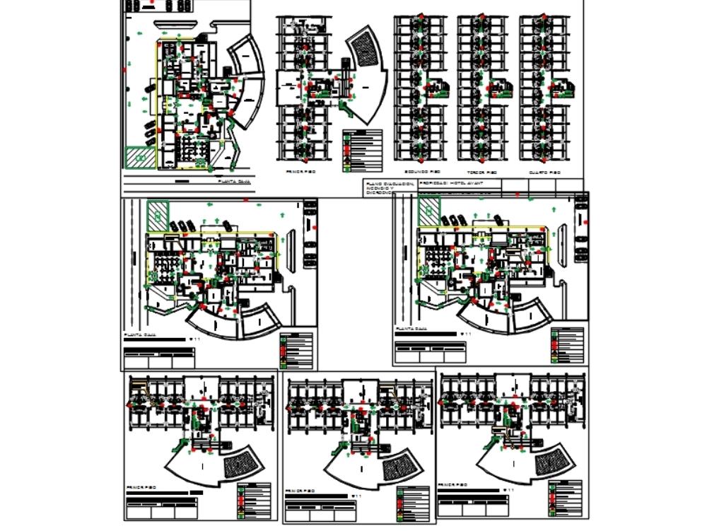 Plano evacuacion - incendio y emergencia de hotel