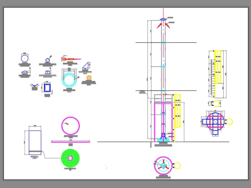 Chimenea industrial y estructura.
