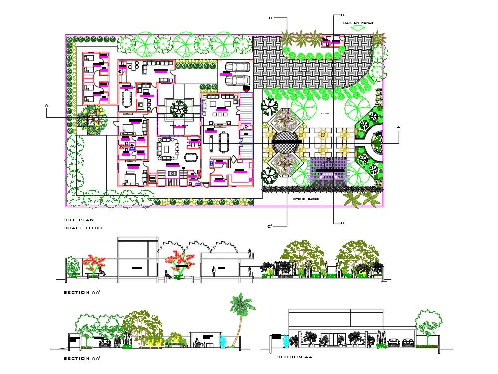 Residential landscape garden design in AutoCAD | CAD (2.77 ...