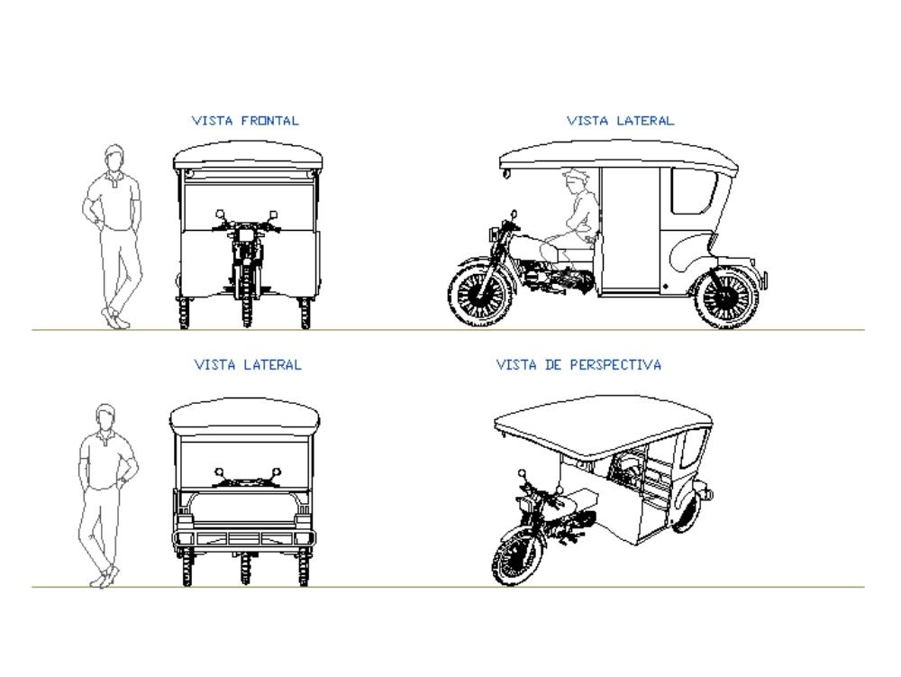 Mototaxi de perú - planos 2d referencial.
