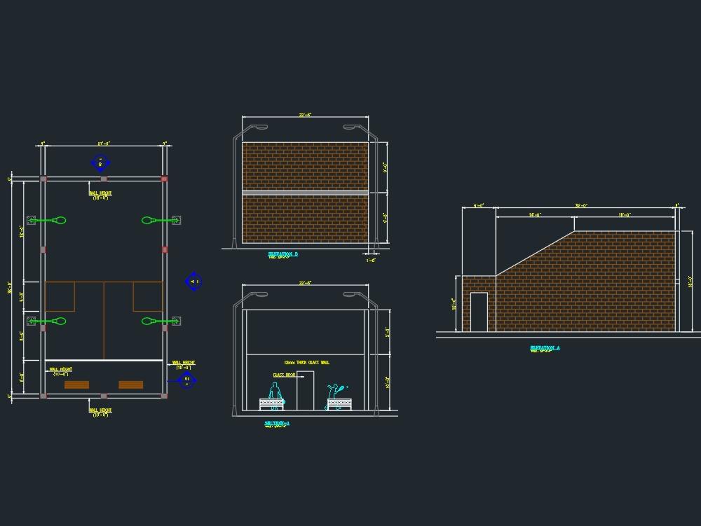 Plano de la cancha de squash y detalles de elevación