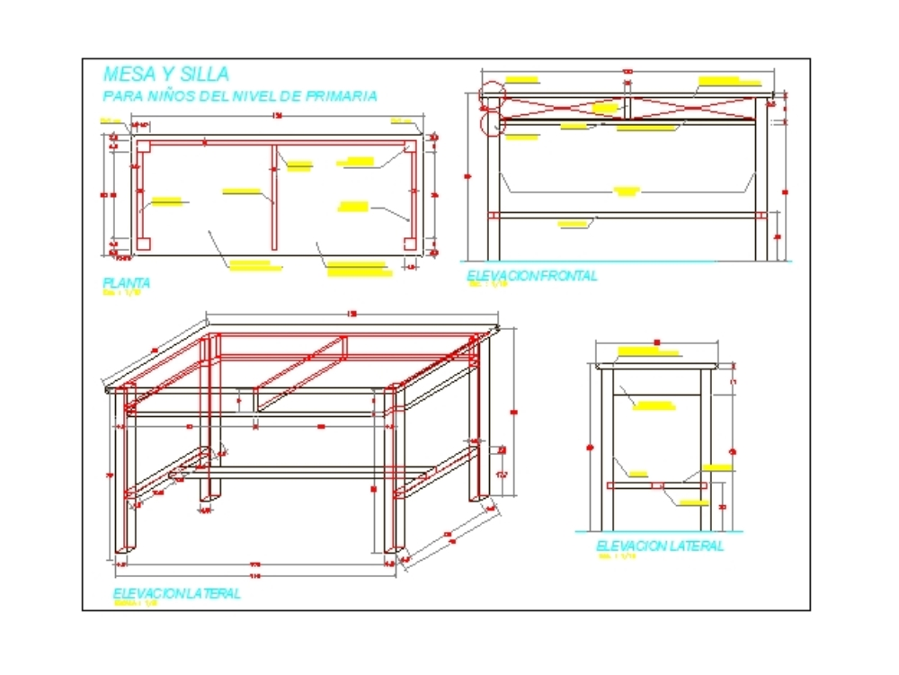 Three-sided isometric table in cad