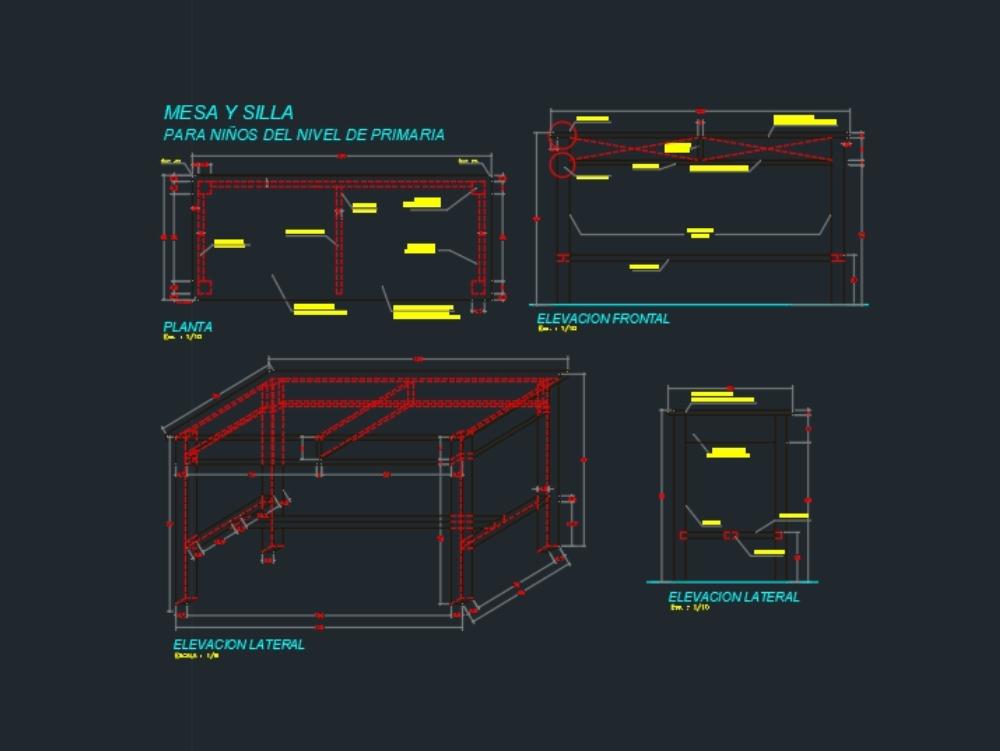 Mesa isometrica de tres lados en cad