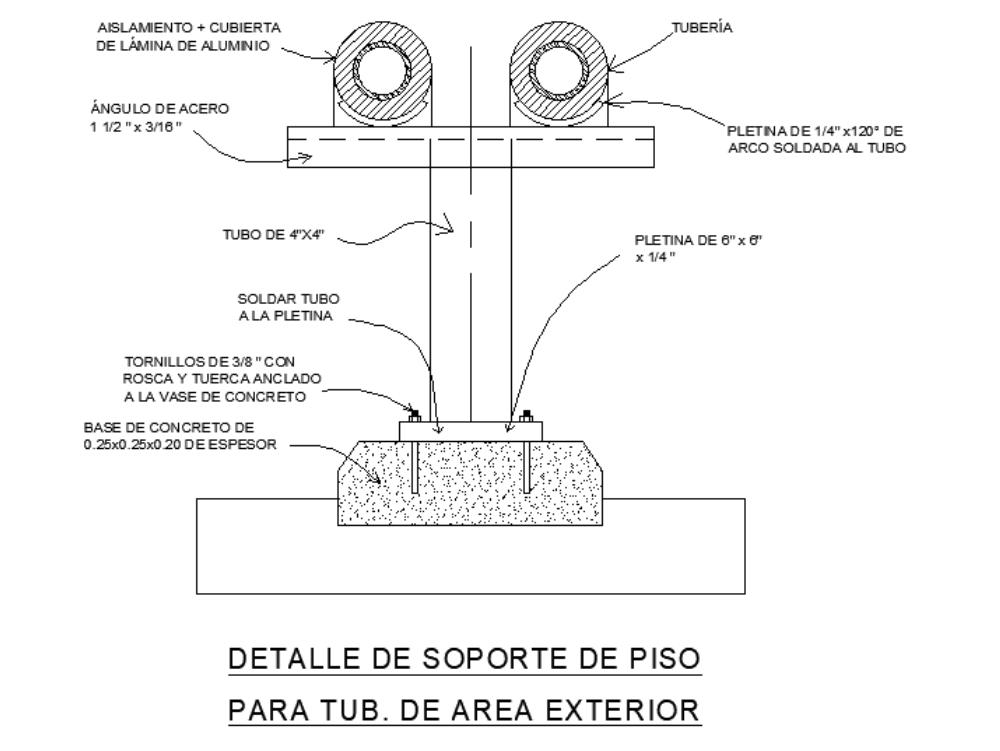 Detalle de soporte de piso para tuberías