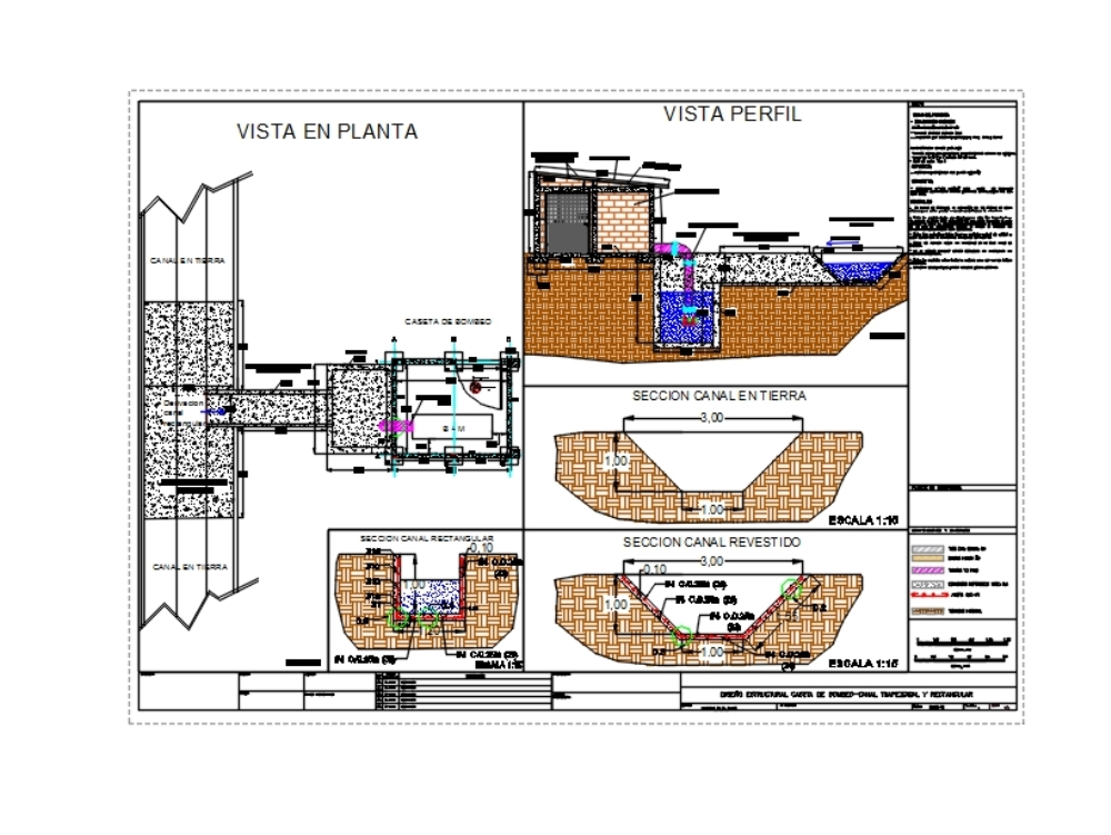 Plano estructural caseta de bombeo