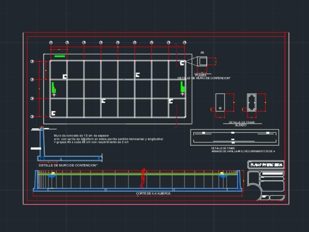 Plano estructural de alberca olimpica