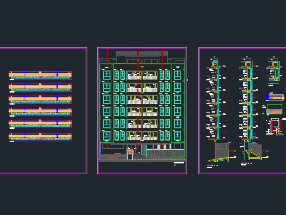 Corte tecnico de edificio multifamiliar