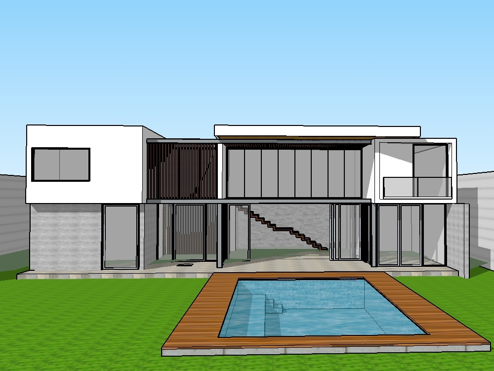 Backyard sketchup house modern house (2.05 MB) | Bibliocad on Sketchup Backyard id=22928