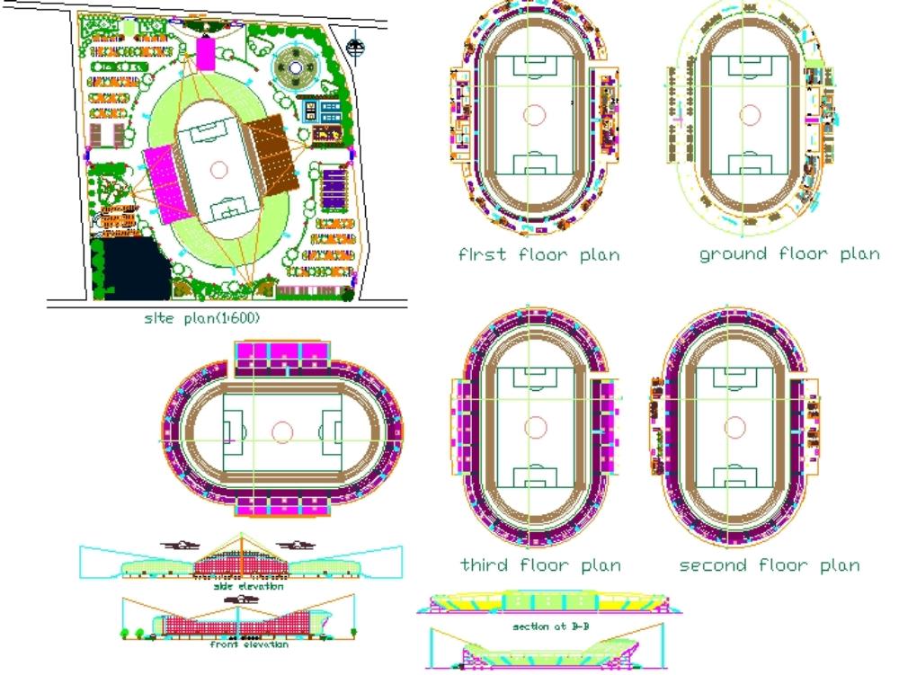 Stadium design with details building