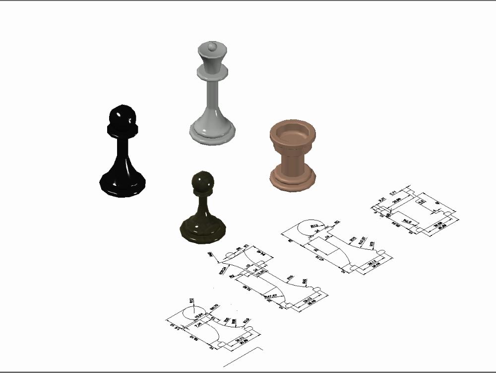 Piezas de ajedrez - peón; alfil; torre y reina
