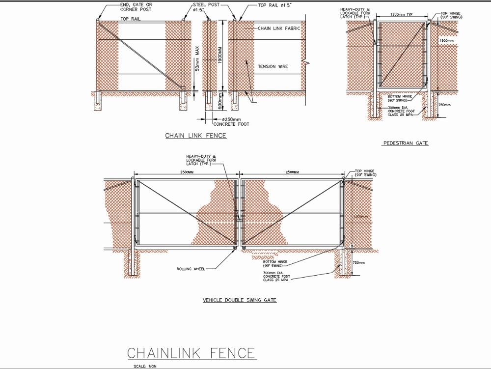 Puerta de seguridad y cerca de malla de acero y postes de acero