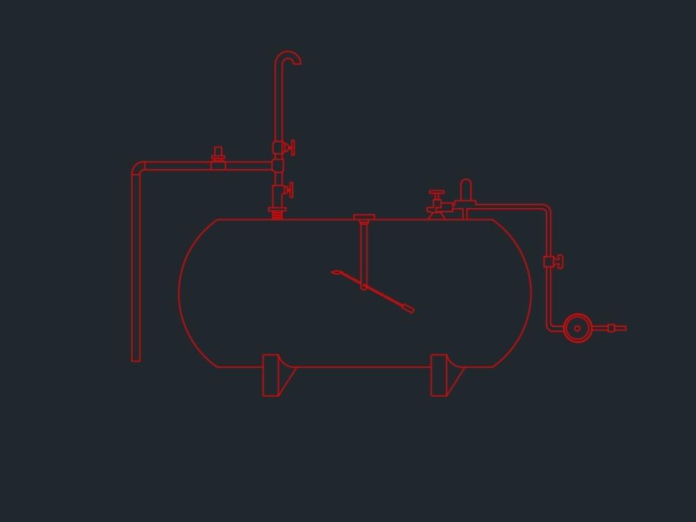 Tanque de gas glp en posición horizontal