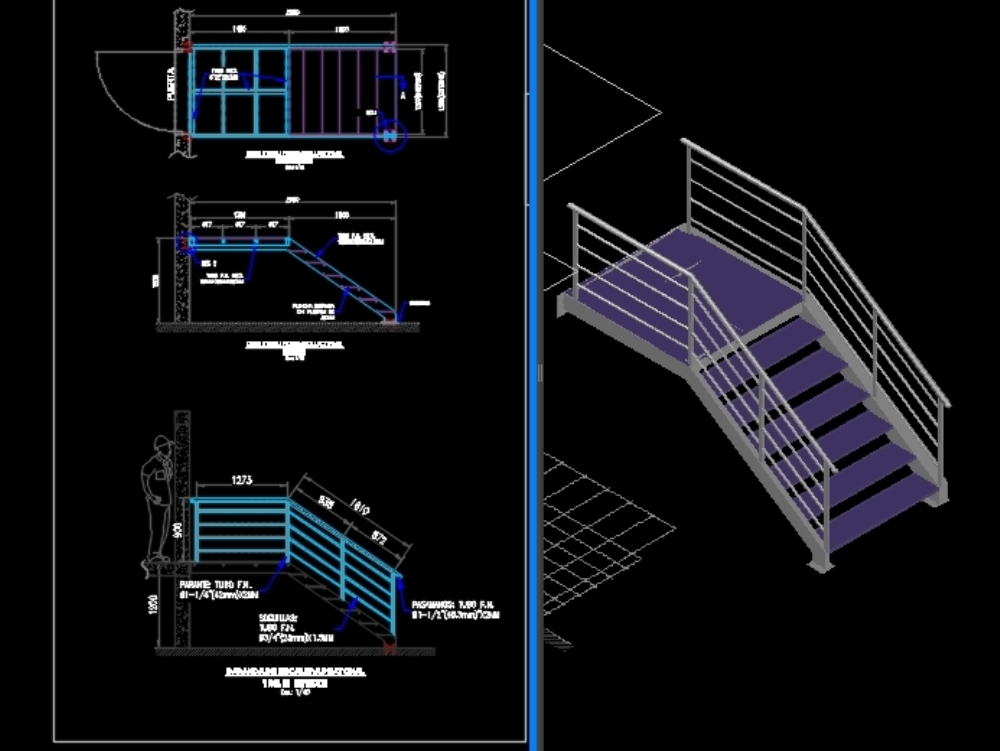 Pedestrian staircase and steel railings