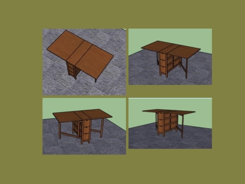 Mesa plegable 80 mm x 150 mm con 6 cajones