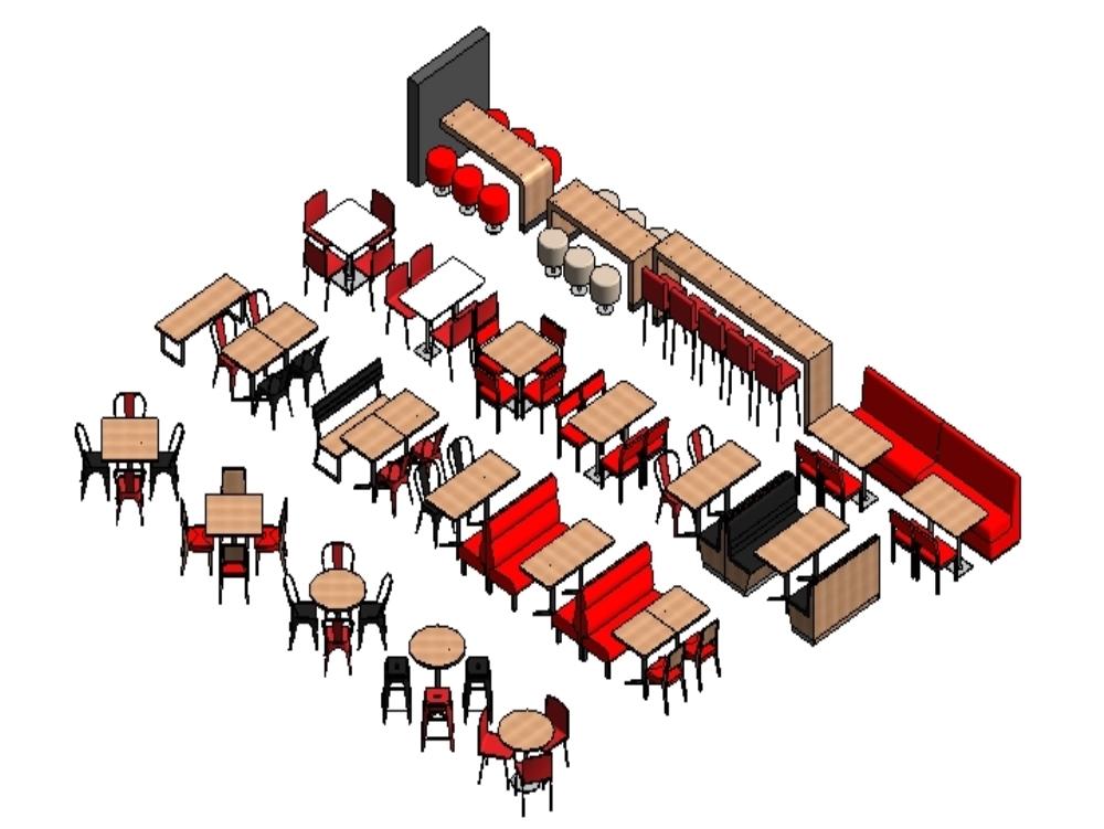Restaurant - loose furniture - revit 2017