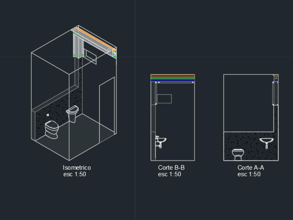 Baño modelo básico wc y lo isometrico y vistas