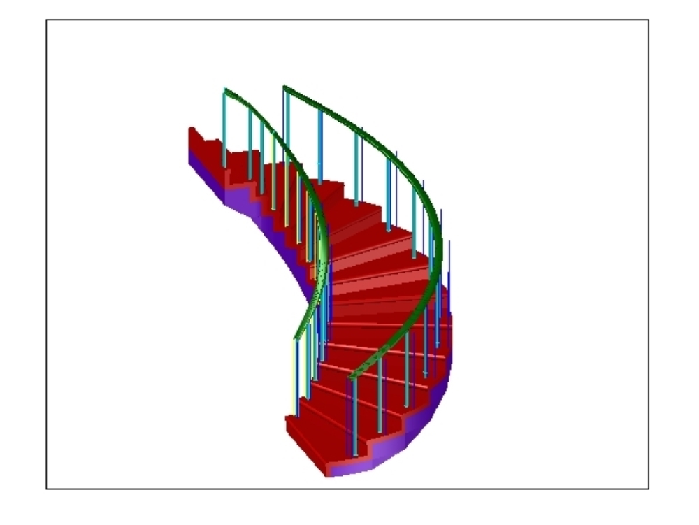 3d model of spiral staircase with handrail