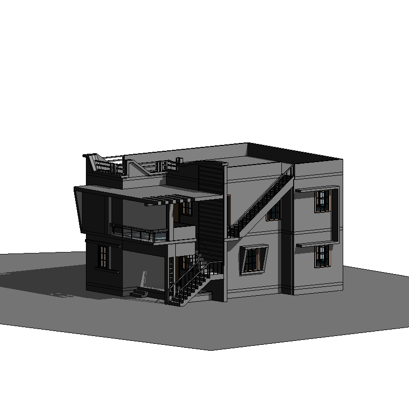 Two storey 3d model home in revit architecture