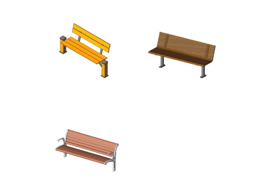Bancas para revit - mobiliario urbano