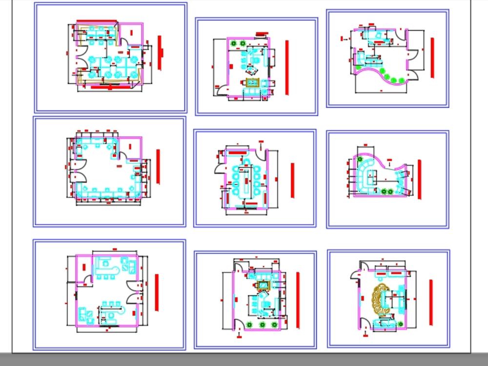 Distribución de muebles - diseño de oficinas