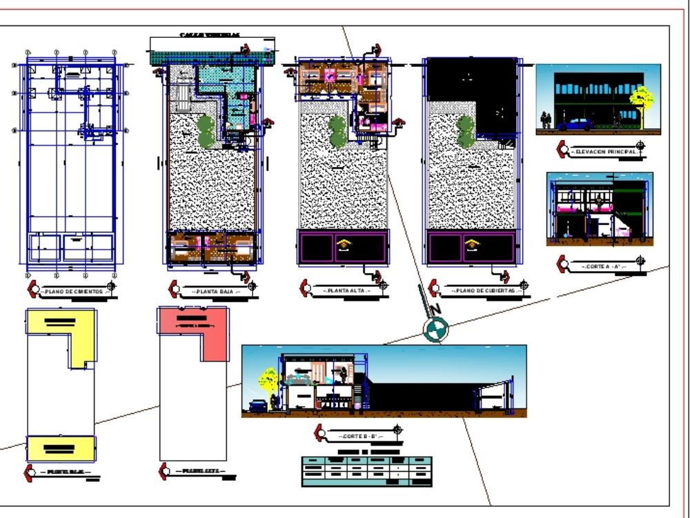 Plano de vivienda unifamiliar 2 plantas - vivienda con tienda