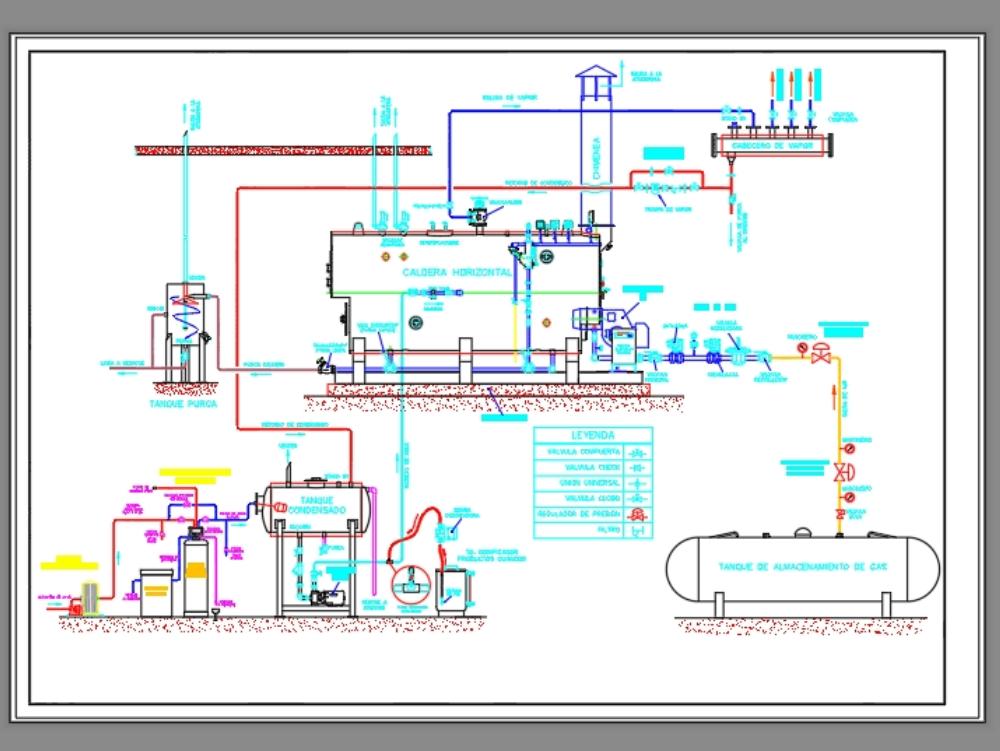Esquema de instalación de caldera 100 bhp
